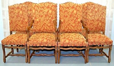Set Of 8 High Back Os De Mouton Upholstered Dinning Chairs Including 2 Carvers