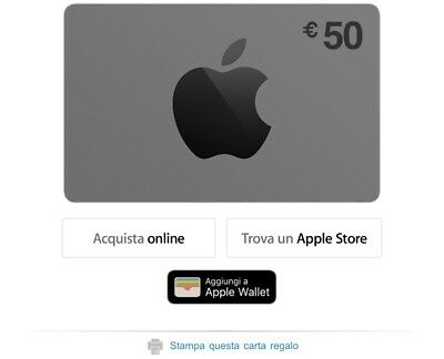 carta regalo APPLE 50 euro buono sconto