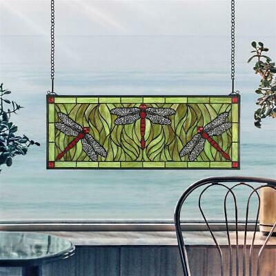 Design Toscano Emerald Green Dragonfly Tiffany-Style Stained Glass Window
