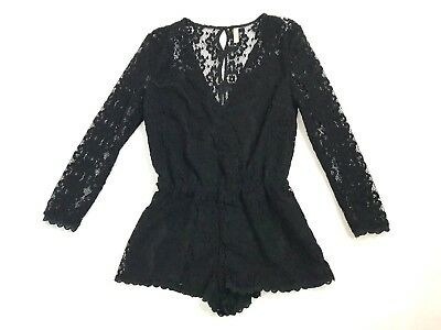 Free People Romper Size Small Black V Neck Button Up Back Scallop Long Sleeve