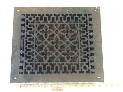 "Antique Reggio Register 12"" x 14"" Cast Iron Louvered Grille Victorian Style"