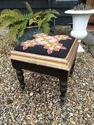 A Fantastic Taoestry Top Stool In Back And Gold On Castors