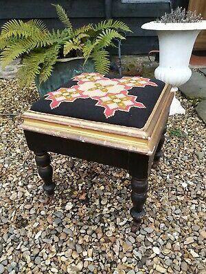 A Fantastic Taoestry Top Stool In Black And Gold On Castors
