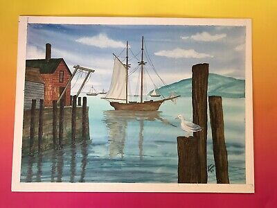 Seagull Pier Beach Original Painting Lisa Ramos Sailboat Fishing Harbor Nautical