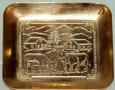 Vintage Small Brass Tray Decorated with Cow Scene
