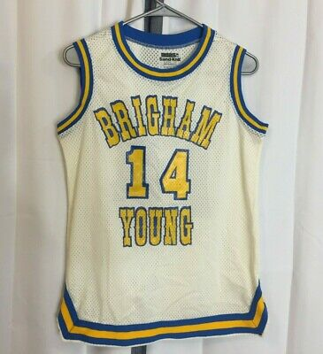 12ac3d203c4 Vtg 80s BYU Cougars Women s Basketball Sand Knit Lady Sz 12  14 Game Used  Jersey