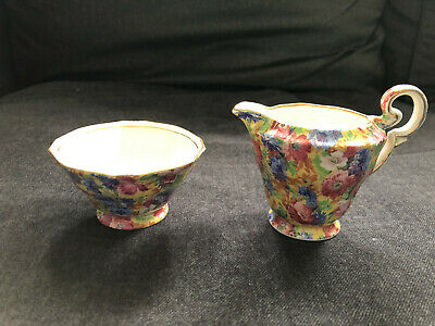 "Gorgeous ROYAL WINTON Grimwades ""ROYALTY"" Floral Chintz Cream & Sugar creamer"