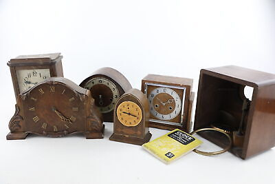 6 x Assorted Vintage CLOCK CASES / MOVEMENTS Inc. Smiths, Key-Wind, Electronic