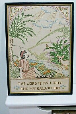 1936 Art Deco American New York Sampler Antique Embroidery by 14 year old girl.