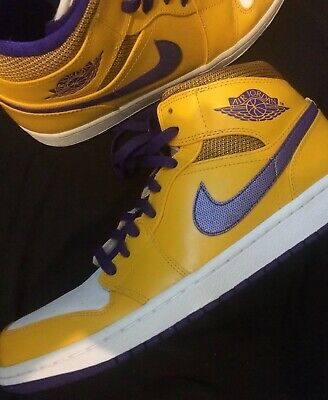 4112b0d1b30fba Rare Nike Air Jordan Yellow Purple Lakers High Top Sneakers Athletic Shoes  Sz 10