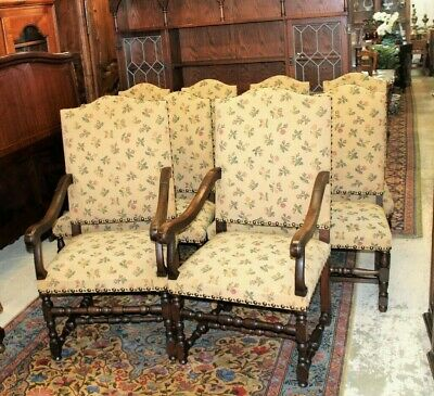 French Antique Upholstered Set Of 10 Louis XIV Dining Chairs Circa 1880s