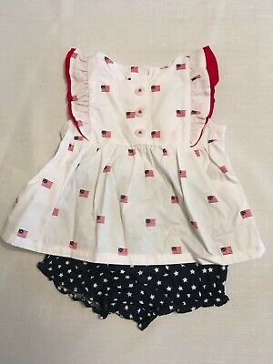 Gymboree Baby Girl Red White and Blue Flag top w/star bloomers  3-6mo