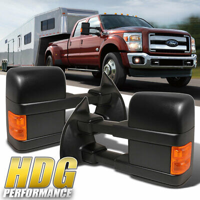 Extending Power Mirror For 08-16 Ford F250/F350/F450/F550 Pair Black Upgrade
