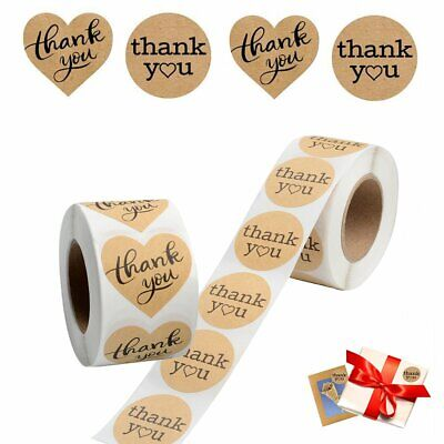 1000 Pcs Thank you Sticker Heart Love Round Shape Kraft Adhesive Label 2 Pattern