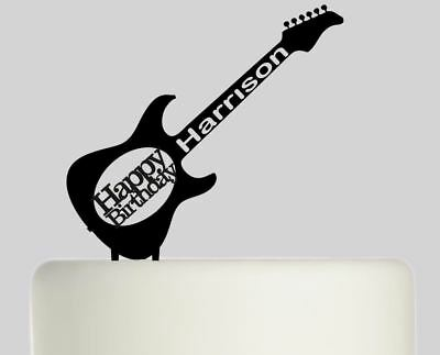 Guitar Personalised Acrylic topper Birthday cake Topper.425