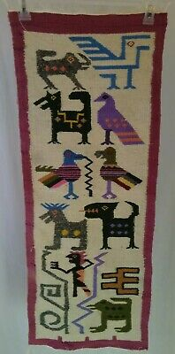 Ecuadorian wool tapestry wall hanging HAND WOVEN WOOL RUG Hand made in Ecuador