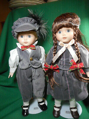 """Marian Yu Limited Edition Pair of Girl and Boy Dolls 14"""""""