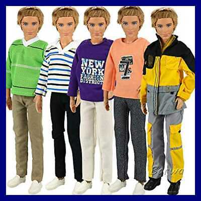 """3 Sets Fashion Long Sleeve Shirt Outfit Clothes W Trousers For 12"""" Boy Friend Do"""