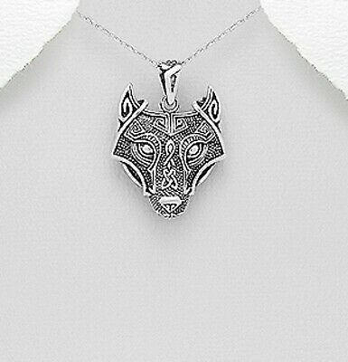Celtic & Wolf Viking pendant sterling silver Hallmarked 925 size 35mm x 26mm