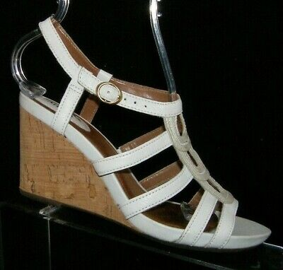 6baf1d14630f Clarks Artisan Kyna Wise white leather strappy buckle cork wedge sandals 7M