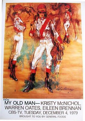 "Leroy Neiman Numbered Bookplate ""My Old Man"" Horses Women Jockey Red White Art"