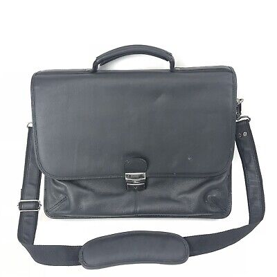 SAMSONITE Business Briefcase Black Full Grain Leather Flapover Portfolio Strap
