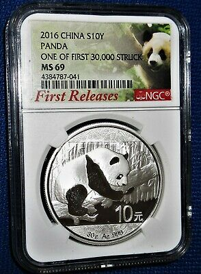 """NGC Certified """"FIRST RELEASES"""" 2016 CHINA PANDA 30 Grams PURE SILVER 10 YUAN 41"""