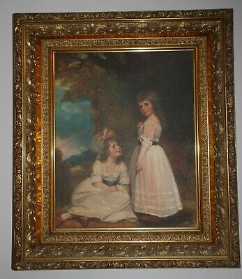 Vintage DeNunzio Oil Painting in Stunning 19th c. Deep Wood and Gilt Gesso Frame