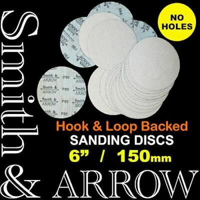 "HOOK AND LOOP DISCS 150mm 6"" NO HOLE SANDING PAD ORBITAL SANDPAPER SANDER VELCRO"