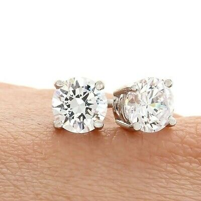 1 Ct Diamond Round Earrings Stud Gold Brilliant Cut Basket Push Back 14K GP