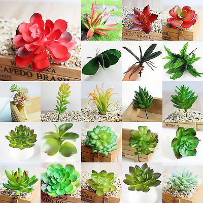 Artificial Succulent Flower Floral Stem Plastic Fake Plant Foliage Garden Decor