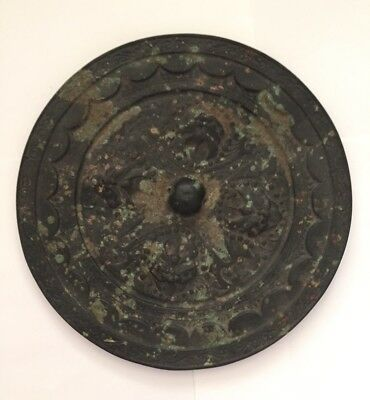 Antique Chinese silvered heavy bronze Mirror - 8 Inches Wide With Stand