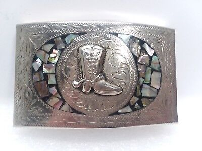 Cowboy Boots Western Alpaca Mexico Albalone Shell Belt Buckle