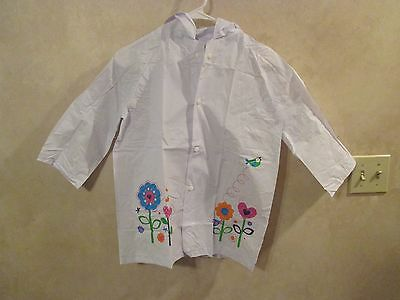 NWOT Girls White Light Grey Floral Raincoat Windbreaker with Hood~Size Large