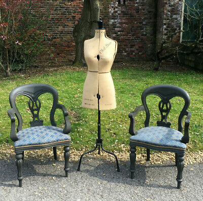 Fab Pair Of Victorian Design Painted Arm Chairs / Side Chairs / Bedroom Chairs.