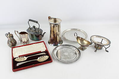 8 x Vintage SILVER PLATE Decorative Items Inc. Spirit Kettle, Berry Spoons 1620g