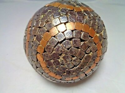 Rare!!! Antique Wood & Nail Bocce Pentanque Ball w/ Unique Circle designs 1800's