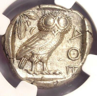 Ancient Athens Greece Athena Owl Tetradrachm Coin (440-404 BC) - NGC Choice AU!
