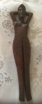 Antique Hand Carved Wooden Treen Novelty Naked Lady Nut Cracker