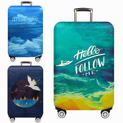 "Elastic Printed 18-32"" Travel Luggage Protector Suitcase Cover Bag Dustproof"