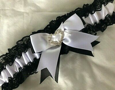 WEDDING GARTER BLACK AND WHITE LACE SATIN HEART CRYSTALS bridal shower gifts NEW