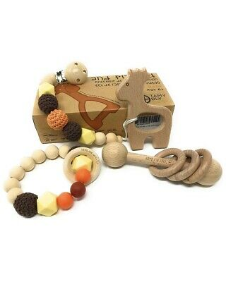 Tamy Bly Natural Wood & Silicone Pacifier Clip Teether,Teething ring - FREE SHIP