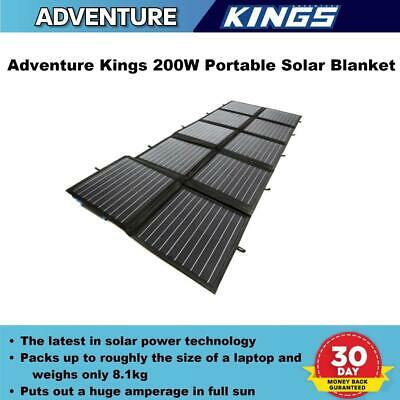 200W 12V Adventure Kings Folding Solar Panel Blanket Kit Portable Foldable 4WD