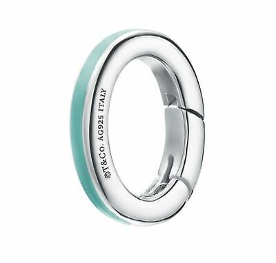 bd1e2840ea Tiffany & Co Silver Blue Enamel Oval Clasping Link Spring Jump Ring Charm  Holder
