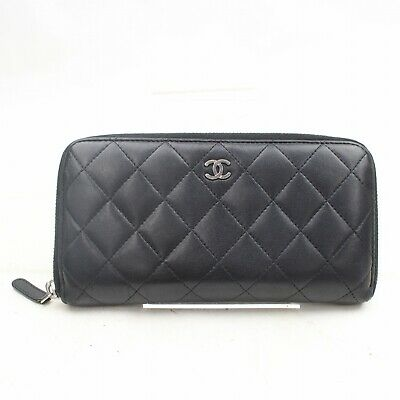 4951e0f27489e6 CHANEL LAMB SKIN Matelasse Leather Long Wallet Card Coin Purse Black ...