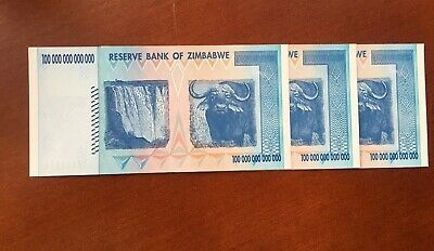 Zimbabwe 100 Trillion Dollars 2008. Uncirculated. 3-pack In sequence.