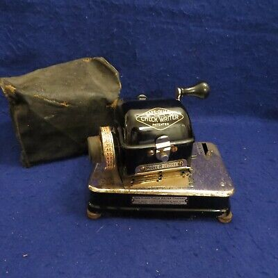 Antique/Vintage Safe-Guard Check Writer Model R 67784 with Orig Cover - SEE PICS