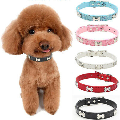 Fashion Dog Cat Supplies PU Leather Pet Bone Necklace Collar For Small Medium