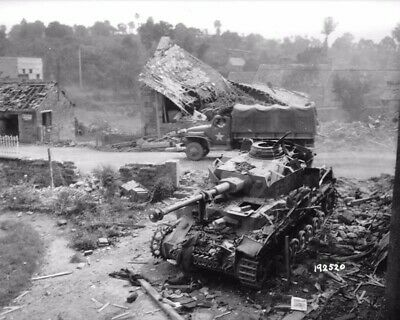 Panzer Iv Wreck In Normandy June 1944 8X10 Photo Print 4309-Wet