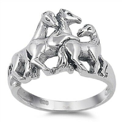 925 STERLING SILVER Country Horse Horses Ring Large Size 10 11 12 13 / T V X Z